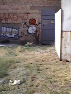 очень смешная  старушка стоит подпирая стену....