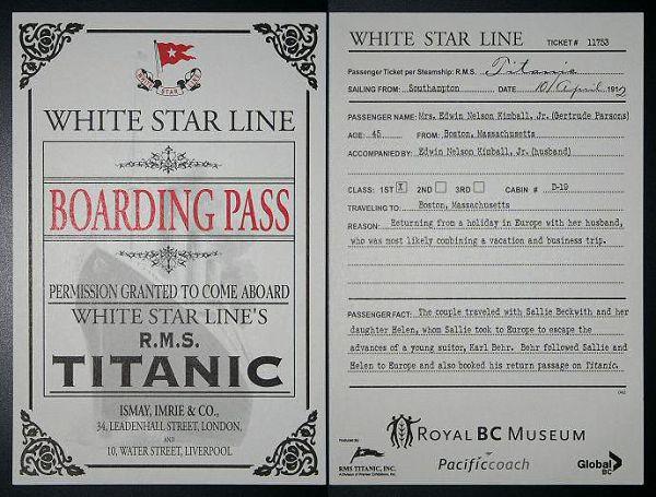 Билет на Титаник. Мистер и миссис Эдвин Кимбелл. Отправление 10 апреля 1912 года. Кабина D-19