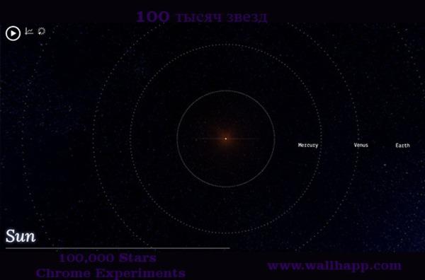 100,000 Stars - Chrome Experiments - визуализация -http://www.wallhapp.com/100-000-stars