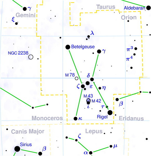 Orion constellation map