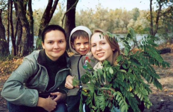 С кумой и моим крестником, Сашенькой.  Сашка, мой любимый сыночек!