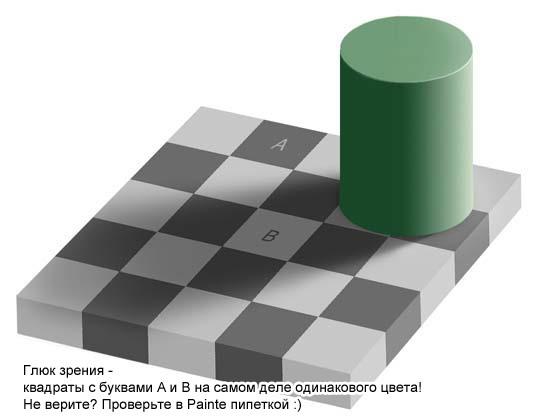 квадраты а и б одинакового цвета!))) пипеткой в фотошопе проверьте)))