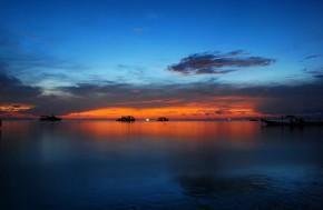 Burning in dark blue