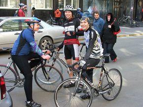 It's me 2i4 (on Univega), my friends Tolstiy (on Schween, Tatu) and Snail (on Kelly's). It was a mass move of Kiev bikers.