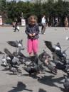 девочка, голуби,ветер