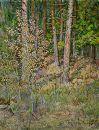 Золотистый свет ранней осени. Трепет листьев на тонкой молодой осинке. Бумага, акварель.