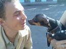 Мой друг Саша и собачка подруги.