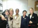 А Это я с коллегами по работе: Хеба-арабка,я,Шадиа-из Кении,Лесли-с Филипинских островов и Холли-англичанка:-) веселая мы команда:-)