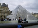"My Ukrainian friend Stanislav in front of the famous ""glass pyramid""at the louvre...:)"