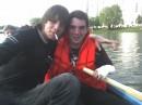 На лодке с другом ( инвалидом ) .