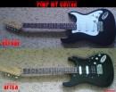 Моя усовершенствованная гитара))) Я заменил один Single Coil на Humbucker от фирмы Harley Benton и заменил pickguard с кнопками)