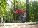 в лесу раздавался топор дровосека...)))
