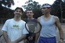(s leva na pravo) Ya ,potom moy drug Dodik,potom moy drug Pitbul'dog!!!!!!!!Igraem v teniss ludshe vseh!
