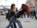 на майдане под живую музыку и пиво )))