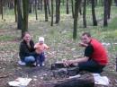 Пасха2008г. на шашлыках. я,крёстница и кум.