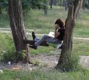 Когда я был пацаном то прятался на деревьях и читал умные книги..;) девушке сложнее вокруг мусора немеряно...;(((((((