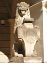 На центральній площі перед входом в ратушу стоять два таких леви