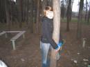 в обнимочку с сосной))